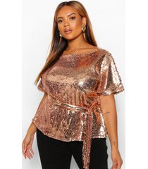 plus sequin belted peplum shirt sleeve top, champagne