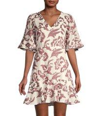 rebecca taylor women's amea floral ruffle dress - snow spice - size 4