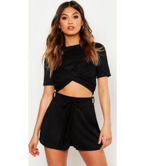 twist front rib top & belted shorts co-ord, black
