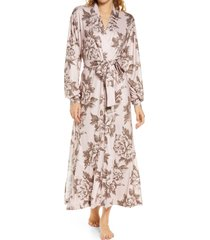 women's masongrey floral print long robe, size medium - pink