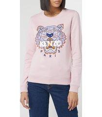 kenzo women's classic tiger slim sweatshirt - faded pink - l
