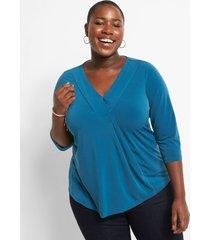 lane bryant women's 3/4-sleeve pleat-front top 14/16 legion blue