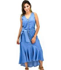 vestido m/s chambray