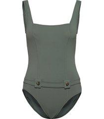 active dd tank maillot w/ buttons baddräkt badkläder grön seafolly