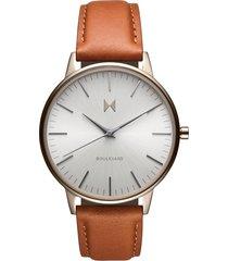 mvmt boulevard leather strap watch, 38mm in brown/light grey/beige gold at nordstrom