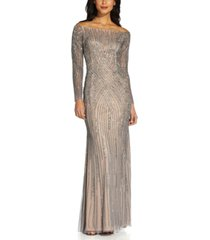 adrianna papell sequin off-the-shoulder gown