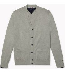 tommy hilfiger men's adaptive contrast tipped cardigan heather grey/sky captain - s