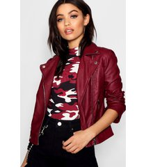 faux leather biker jacket with quilt detail, burgundy