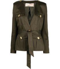 alexandre vauthier belted military blazer - green