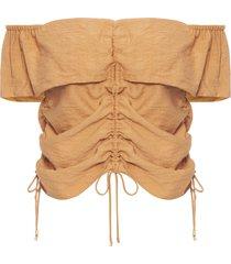 blusa feminina assimétrica crepe linho - marrom