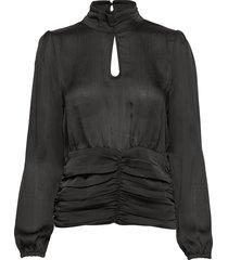 u1063, woven top l/s blouse lange mouwen zwart saint tropez