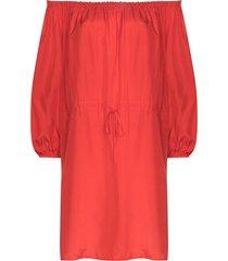 anaak ruby off-shoulder silk minidress - red