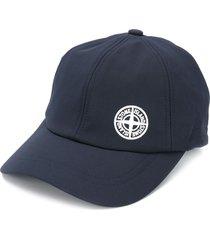 stone island embroidered logo baseball cap - blue
