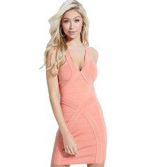 vestido sl mirage ottoman nydia dress rosado guess