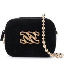casadei mini suede shoulder bag - black