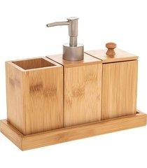 akcesoria łazienkowe komplet woodie