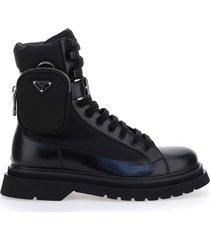 prada pouch applique combat boots