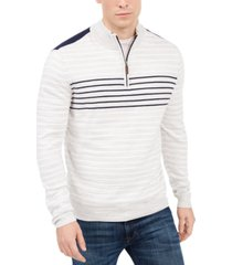 club room men's low tide quarter-zip striped sweater, created for macy's