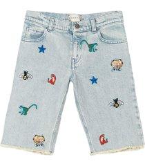 gucci light blue denim shorts