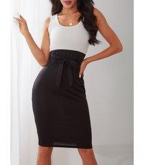 yoins basics bloque de color negro cinturón diseño lazo redondo cuello vestido