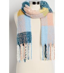 maurices womens blue plaid oblong scarf