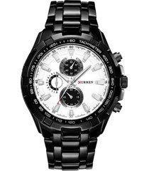 reloj cuarzo analogico militar curren 8023 negro blanco