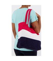 bolsa fila stripes vermelha branca e marinho