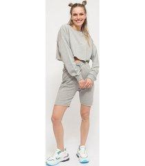 conjunto missguided crop sweat & cycling shor gris - calce regular