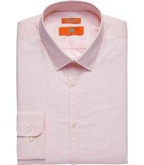 egara orange men's extreme slim fit dress shirt pink pattern - size: 16 1/2 34/35