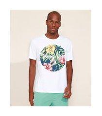 "camiseta masculina summer days"" floral tropical manga curta gola careca branca"""