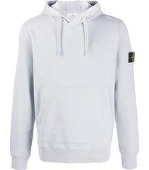 stone island logo patch drawstring hoodie - grey