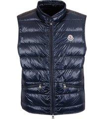 moncler chest logo patch padded vest