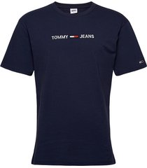 tjm straight logo tee t-shirts short-sleeved blå tommy jeans