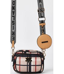 river island womens beige checked camera bag with pouch