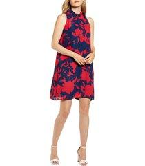 women's gibson x hi sugarplum! cavallo ruffle neck date dress, size large - blue