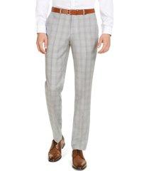 hugo hugo boss men's modern-fit light gray plaid suit separate pants, created for macy's