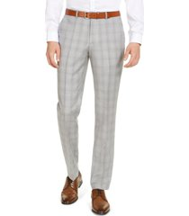 hugo men's modern-fit light gray plaid suit pants, created for macy's