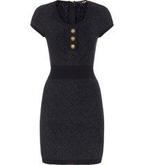balmain buttoned stretch knit mini dress