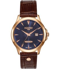 roamer men's 3 hands date 40 mm dress watch in steel case on strap