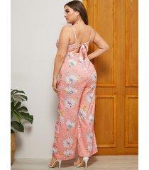 yoins plus talla rosa sin espalda diseño estampado floral sin mangas mono