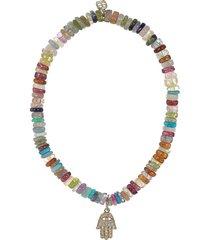 pave diamond hamsa charm heishi bead bracelet