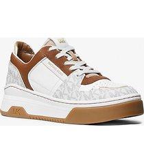 mk sneaker lexi in pelle bicolore e logo - bianco ottico cangiante (bianco) - michael kors