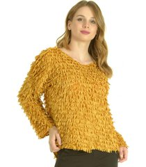 sweater flecos mostaza bou's