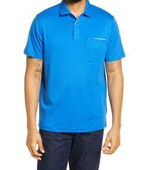 men's bugatchi pima cotton short sleeve polo shirt, size xx-large - blue