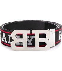 bally logo print belt - black