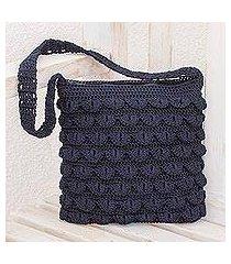crocheted shoulder bag, 'summer frill in navy' (guatemala)
