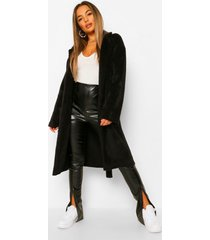 petite lange geborstelde nepwollen jas met ceintuur, black