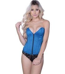 corselet yasmin lingerie tafetã¡ cavado azul. - azul - feminino - dafiti