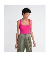 blusa regata em tricô canelado com decote quadrado e alças largas | marfinno | rosa | g