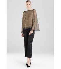 gold embroidered mesh blouse with cami, women's, size xs, josie natori
